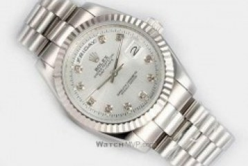 replica rolex day date white gold diamonds markers