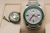 Super Rare Replica Rolex Day-Date 40 Green Emerald Platinum Watches Replica For Sale