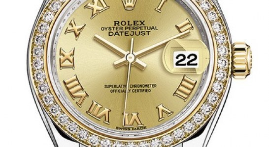 Replica Watches Free Shipping Rolex Lady Datejust Champagne Roman Dial Diamond Bezel Automatic Watch